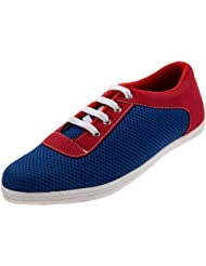 Zovi Men's Ink Blue And Red Lace Suede Summer Casual Shoes (S147SHM06A01)