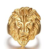AMDXD Bijoux En acier Inoxydable Hommes Or Gothique Bagues Lion Figure Taille 56.5