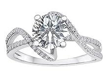 buy Star K Round White Topaz Bypass Wedding Ring Size 5