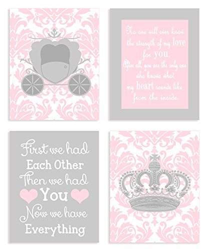 The Kids Room by Stupell Sweet Messages in Pink and Grey 4-Pc Rectangle Wall Plaque Set