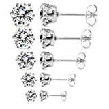 5 Pair Mixed Size (3mm 4mm 5mm 6mm 7mm) Wholesale Lot Cz Crystal Stainless Steel Earrings Studs. Nickel-free. Lead-free.