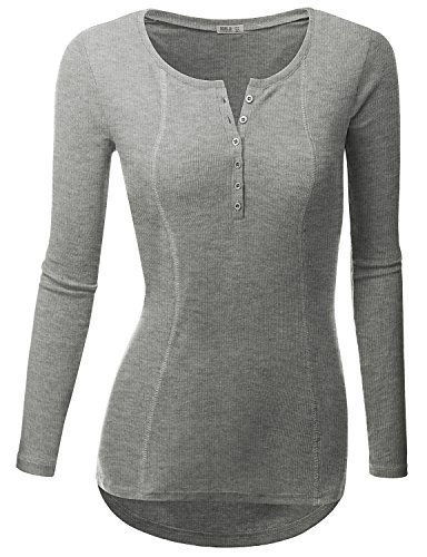 Doublju Womens Basic Casual Long Sleeve Thermal Henley T-Shirt HEATHERGRAY MEDIUM (Womens Thermal Shirts Long Sleeve compare prices)