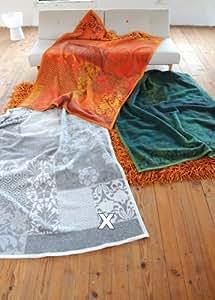 Wolldecke CAPRI florales Muster, grau natur Decke von David Fussenegger