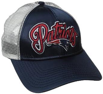 NFL New England Patriots Scripty Satin Trucker Ladies Adjustable Hat by New Era