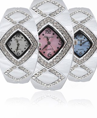 Diamond Pattern Cuff Rhinestone Fashion Watch in Fancy Gift Box with Free Shipping