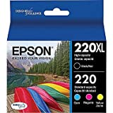Epson DURABrite Ultra 220XL/220 High Yield Black and Standard Color Cyan Magenta Yellow Cartridge, (T220XL-BCS), Combo 4/Pack