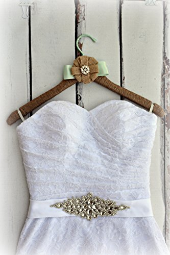 Wedding dress hanger rustic farmhouse burlap jute bridal for Wedding dress hanger amazon