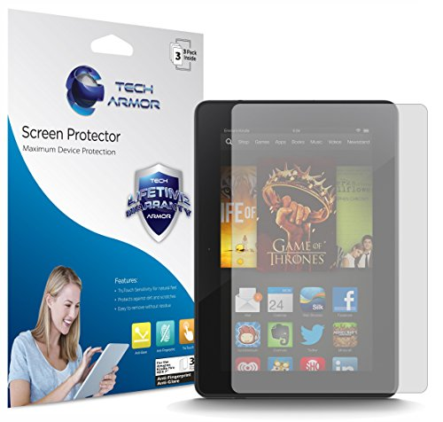 Kindle-Fire-HDX-Screen-Protector-Tech-Armor-Anti-GlareAnti-Fingerprint-Amazon-Kindle-Fire-HDX-7-2013-Film-Screen-Protector-3-Pack