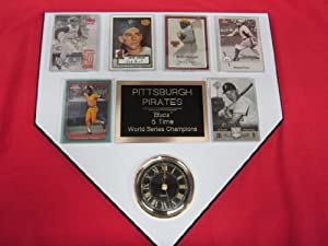 Pittsburgh Pirates World Champions 6 Card Collector HOME PLATE Clock Plaque EXCLUSIVE... by J & C Baseball Clubhouse