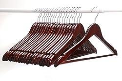 AADYA High Grade Solid Wooden Suit Hangers/Wooden Men Hangers, Wood Clothes Hangers with Chrome Hooks-(Set of 200PCS)