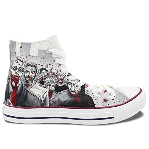 Walking Dead Converse Shoes Men Women Hand Painted Zombies High Top Canvas Sneaker Unique Gifts