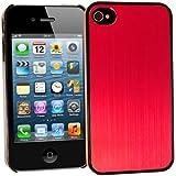 Brushed Metal Hard Back Case Apple iPhone 4/4S Aluminum Metallic Grip Cover (Pink)