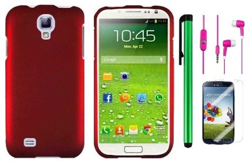 Samsung Galaxy S4 I9500 Accessory Combination - Premium Plain Color Protector Hard Cover Case / Screen Protector Film / 1 Random Color Handsfree Headset 3.5Mm Stereo Earphones / 1 Of New Metal Stylus Touch Screen Pen (Red)