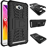 Chevron ASUSMAXHYB_BLACK Hybrid Military Grade Armor Kick Stand Back Cover Case for Asus ZenFone Max (Black)