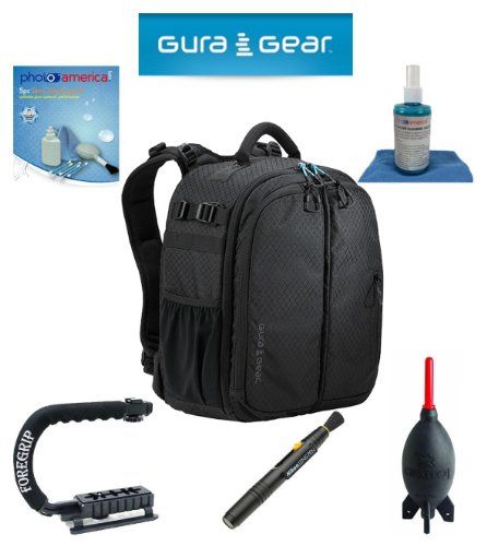 Gura Gear Bataflae 18L Backpack (Black) For Canon Eos 5D Mark Iii, 5D Mark Ii, 7D, 70D, 60D + Foregrip + Nikon Lens Pen Cleaning System + Giotto'S Air Blower + Cleaning Kit + Olympus Waterproof Binoculars