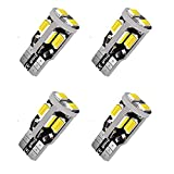 12V T10 LED Bulb,194 LED Bulb, 168 LED Bulb, 2825 W5W LED Bulbs, Super Bright 6000K White 10SMD 5730 Chipset 250LM LED Bulb for Car Interior Dome Map Door Courtesy License Plate Lights 4pcs… (Tamaño: 4pcs T10 10SMD)