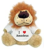 Lion plush toy with I Love Amadeus t-shirt (first name/surname/nickname)