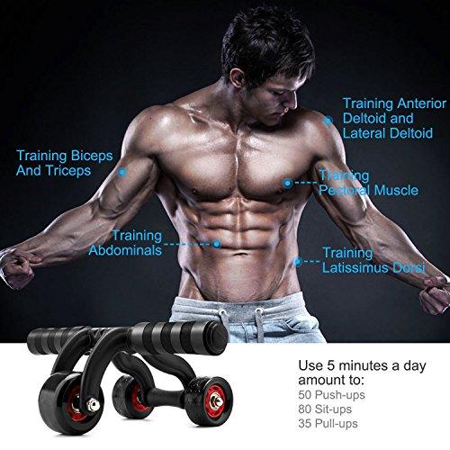 MAXKARE(ESDDI) 腹筋ローラー エクササイズ アブローラー 腹筋 ブレーキ&マット付き 3つのローラー