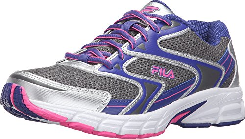 Fila Women's Xtent 3 Running Shoe, Dark Silver/Royal Blue/Sugarplum, 7 M US