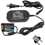 HQRP AC Power Adapter for Panasonic DMW-DCC12 DMW-AC8PP fits Lumix DMC-GH3 DMC-GH4 DMC-GH3K DMC-GH4K Digital Camera, DMW-BLF19PP plus Euro Plug Adapter