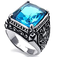 buy Konov Mens Crystal Stainless Steel Ring, Classic Gothic, Blue Silver, Size 11