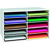 Pacon Classroom Keepers Construction Paper Storage, 12 x 18 Inches Paper, 10 Slots, 16-7/8 x 18-1/2 x 26-7/8 Inches (001316)