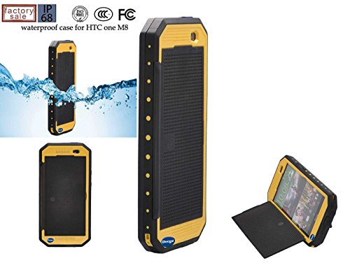 Nancy'S Shop Dot View Matrix Case Cover For Htc One M8 Waterproof Dirtproof Snowproof Shockproof Skin Hard Phone Shell For Htc One M8 (Yellow)