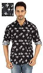 Spykar Black Partywear Slim Fit Shirt (Size:L)