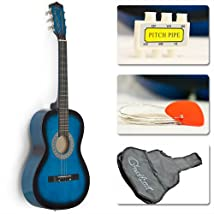 38 Blue Student Acoustic Guitar Starter Package Guitar Gig Bag Strap Pitch Pipe