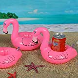 Alcoa Prime Hot Sale 12Pcs Mini Flamingo Inflatable Water Floating Cell Phone Drink Can Coke Cup Holder Stand...