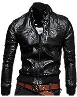 Tangda Blouson Cuir Homme Silm Moto Cool Manteau Jacket Zippé Mode Casual Veste