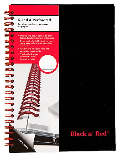 51Py9LuMmNL. SL500  Black n Red Twin Wire Hardcover Notebook, 8 1/4 x 5 7/8 Inches, Black, 70 sheets (L67000) (140 pages)