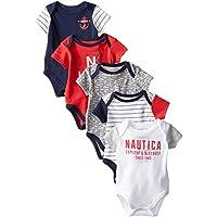 Nautica Baby-Boys Newborn 5 Pack American Bodysuit, Assorted, 0-3 Months