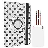 DMG Designer Polka Print 360 Rotating Smart Case For Apple IPad Mini (White) + AUX Cable + Matte Screen