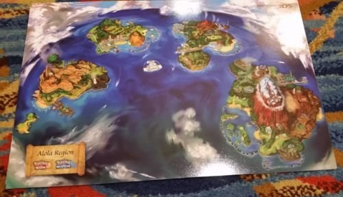[2016 SDCC Pokemon Sun Moon Dual Sided Poster Alola Map Nintendo Exclusive Go] (Master Quest Map Costumes)