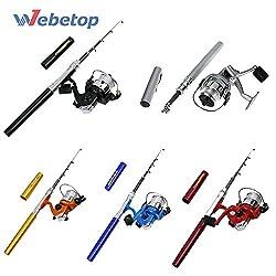 1M Telescopic Aluminum Alloy Mini Pocket Pen Fishing Rod Pole Reel Combos