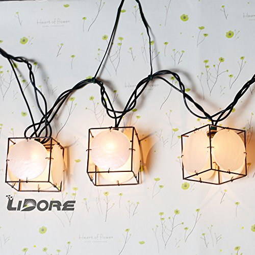 LIDORE Set of 10 Vintage style Square with Seashells String Lights. Ideal for home and simple decor 2