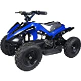 Mwave Electric ATV Blue 350 Watts, 24 V, up to 10 Mph, High Tensile Steel Frame, Load Capacity of 165 Lbs, Ages 6 -8
