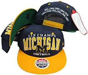 Michigan Wolverines 11X National Football Champs Plastic Snapback Adjustable Plastic... by Zephyr