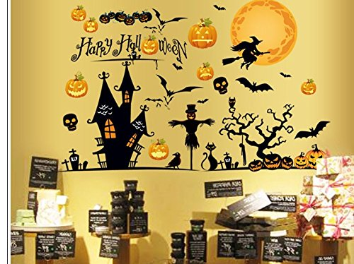 ウォールステッカー ハロウィン 2枚 セット かぼちゃ ディスプレー 模様替え 窓 壁 リビング お子様と一緒に貼れます (シール 1)