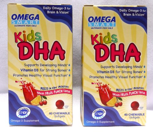 Omega Smart Ultimate Fish Oils Kids DHA, Fruit Punch Flavor, 60 Chewable Softgels (Pack of 2) (Omega Vitamin D3 compare prices)