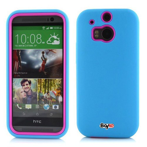 Bayke Brand / Htc One M8 Dual Layer Premium Armorbox Armor Defender Case High Impact Dual Layer Hybrid Protective Case (Without Built-In Screen Protector) (Compatible With All Htc One M8 2014 Models, Including Htc One+, Htc One Plus, Htc One 2) (Sky Blue
