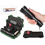Handheld Flashlight - T6 LED 900lm Black Zoomable Water-Resistant Durable Metal Tactical Military Police Torch Lights For Camping Hunting - 18650 Rechargeable Battery Charger Bike Mount Box Included