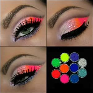 10 MYO Ultra Bright Color Set Eyeshadow Pigment Mica Cosmetic Mineral Makeup Limited Color Edition 3 Gram Size (You must prep your eyelids with a base primer before applying pigment.)(Jar Size Diameter: 31 mm/1.2 inch Height: 16.5 mm/0.6)