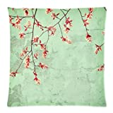Seafoam Green Nature Floral Spring Flowers Mint Branches Trees Pink Mint Green Throw Pillow Case Cushion Covers Square 18x18 Inch
