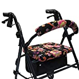 Crutcheze Pink Paisley Floral Rollator Walker Seat and Backrest Covers Designer Fashion Accessories Made in USA