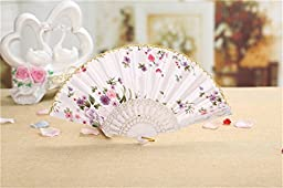 The Spanish Style Flower Pattern Folding Fan Chinese Gifts / Chinese Hand Fans for Girls Women Chinoiserie (white)