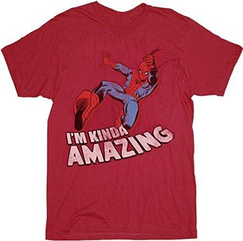 Spider-Man I'm Kinda Amazing Red Mens T-shirt Tee (Adult Small)