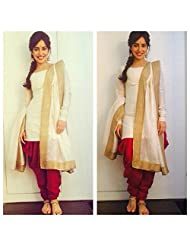 2016's New Arrival Bollywod Replica Mastani Kreation Cream And Red Pure Cotton Patiala Unstitch Dress With Lace...