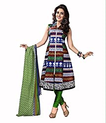 Neerja creation womens cotton Unstiched Dress material(K-1020_Blue)